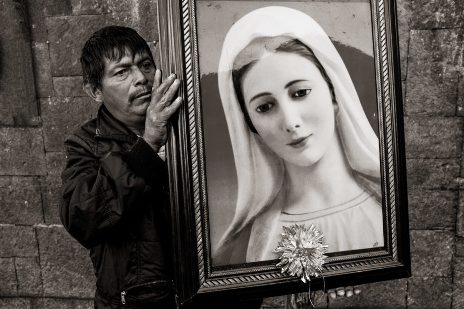 Man with Portrait of the Virgin - Mexico City
